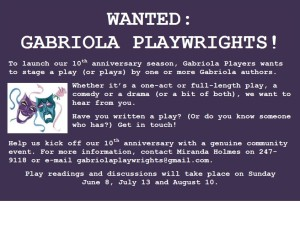 Playwrigths wanted