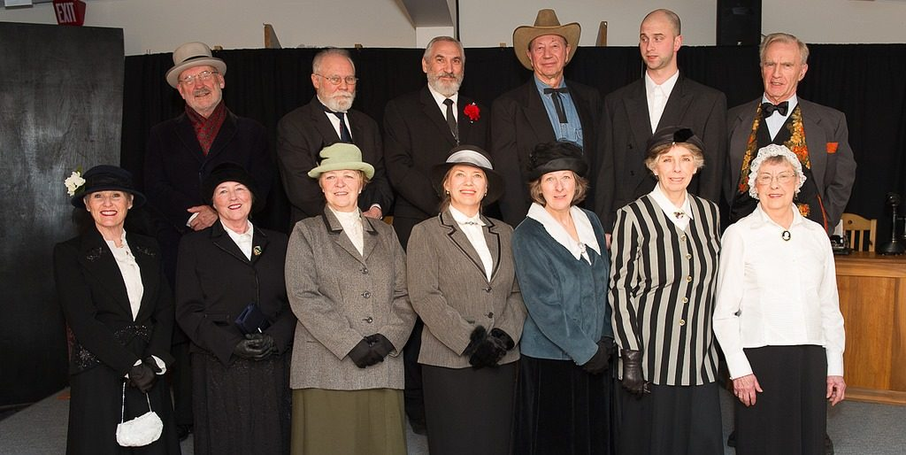 The cast of What Glorious Times They Had. Back row, left to right: Peter Dzierzawa, Garry Davey, Joe DiCara, Cec Ashley, Alex Dewar and Peter Jones. Front row, left to right: Lesley Hazeldine, Jenn Feenan, Jean Wyenberg, Margaret Litt, Donna Deacon, Joyce Ashley and Nancy Jenner.