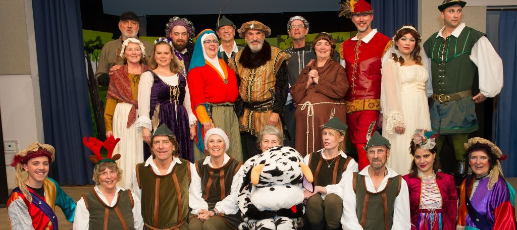 The fabulous cast of Robin Hood and His Merry Men. Back row, l-r: Herb Metcalf, Jenn Feenan, Nadine Mourao, Roger Carter, Doris McLaughlin, Cec Ashley, Joe DiCara, Nick Squire, Jean Wyenberg, Paul O'Sullivan, Aleksandra Brzozowski, Alex Dewar. Front row: Sam Hooton, B J Godson, Steve Elder, Lesley Hazeldine, Adela Torchia, Esther Moncrieff , Klaus Horky, Madeleine Ani, Ginny Lowes.