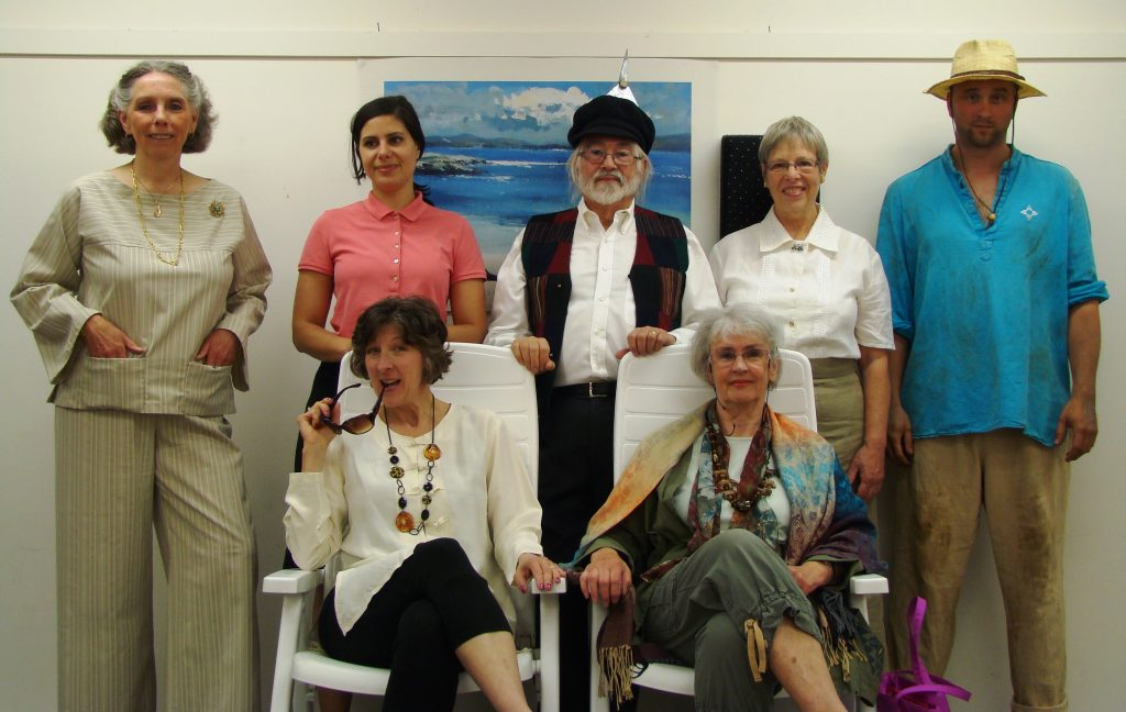 One-Act Play Festival cast. Back row, left to right: Joyce Ashley and Madeleine Ani (The Way of All Fish), Lawrence Spero, Tessa Spero and Alex Dewar (Variations on the Death of Trotsky). Seated: Donna Deacon and Catherine Andersen (Theatrical Digs). Photo © Chris Bowers.