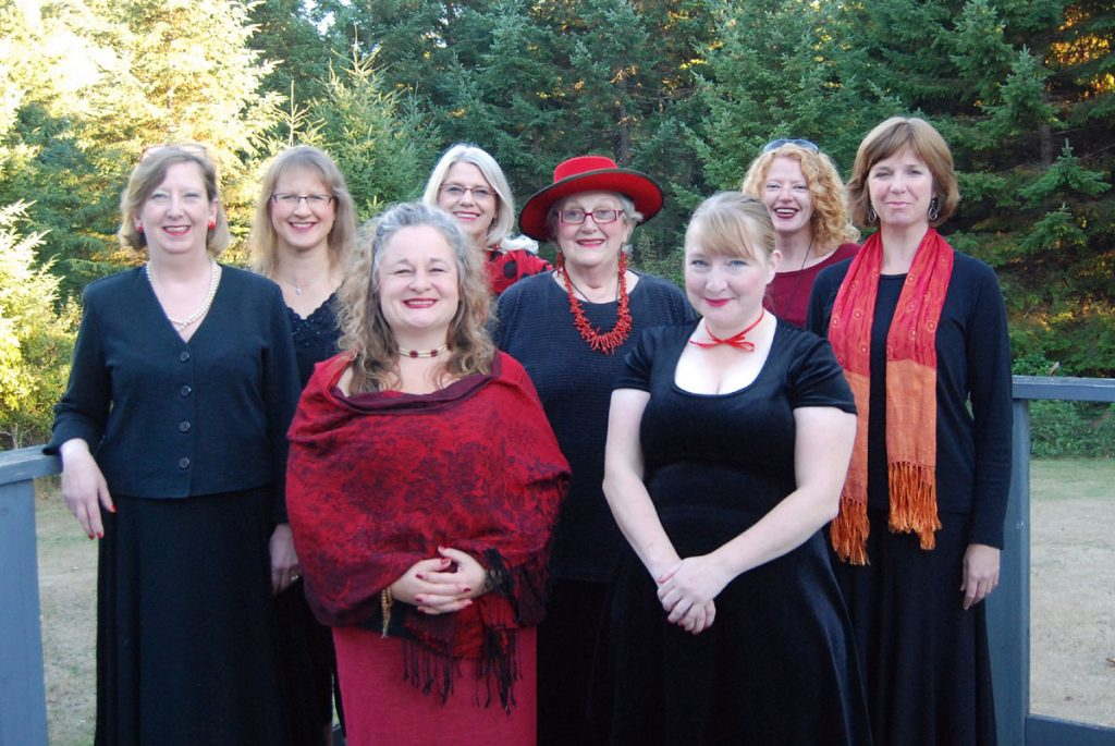 Monologuers from left to right: Miranda Holmes, Michelle Young, Laura Johnson, Margaret Litt, Liz Ciocea, Alisa Perry, Adrienne Vance and Sheila Malcolmson.